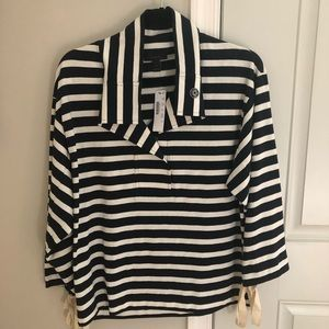 NWT J.Crew Navy and White Striped Pullover Small